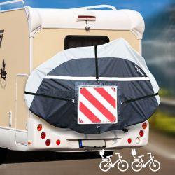 Housse pour porte vélos électrique 2 vélos avec emplacement panneau de signalisation.