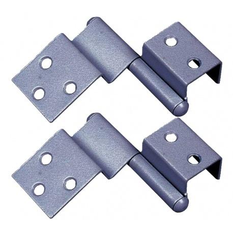 Charnières dégondables spéciales porte gris Droite X 2