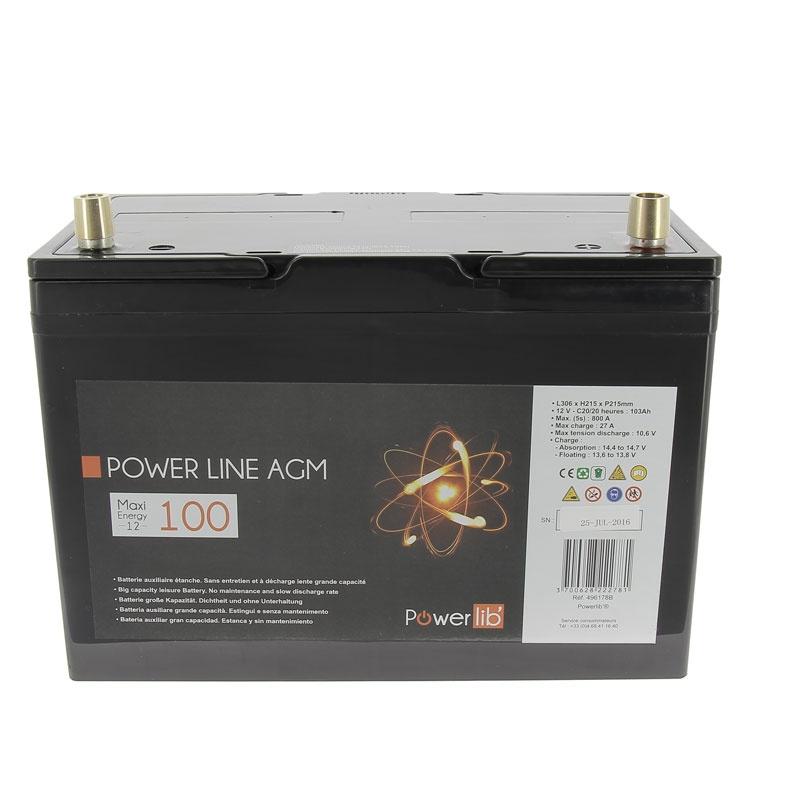 power line gamme agm 100 ah batterie 12 v camping car. Black Bedroom Furniture Sets. Home Design Ideas