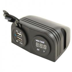 Socle Prise USB 5V et Voltmètre digital