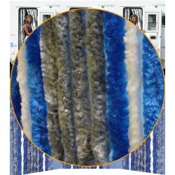 Rideaux chenille 56 x 185 Gris Bleu Blanc