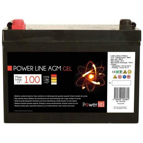 Batterie Camping car Power Line GEL 100 A/h